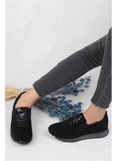 Modabuymus Modabuymus Çapraz Lastikli  Streç Günlük Spor Ayakkabı Kadın Sneaker - Spunstar Siyah